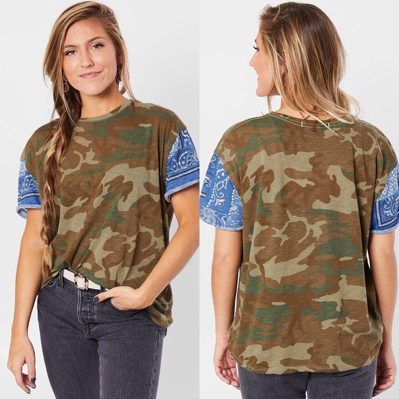 New Free People Clarity Tee Army Camo Print Large